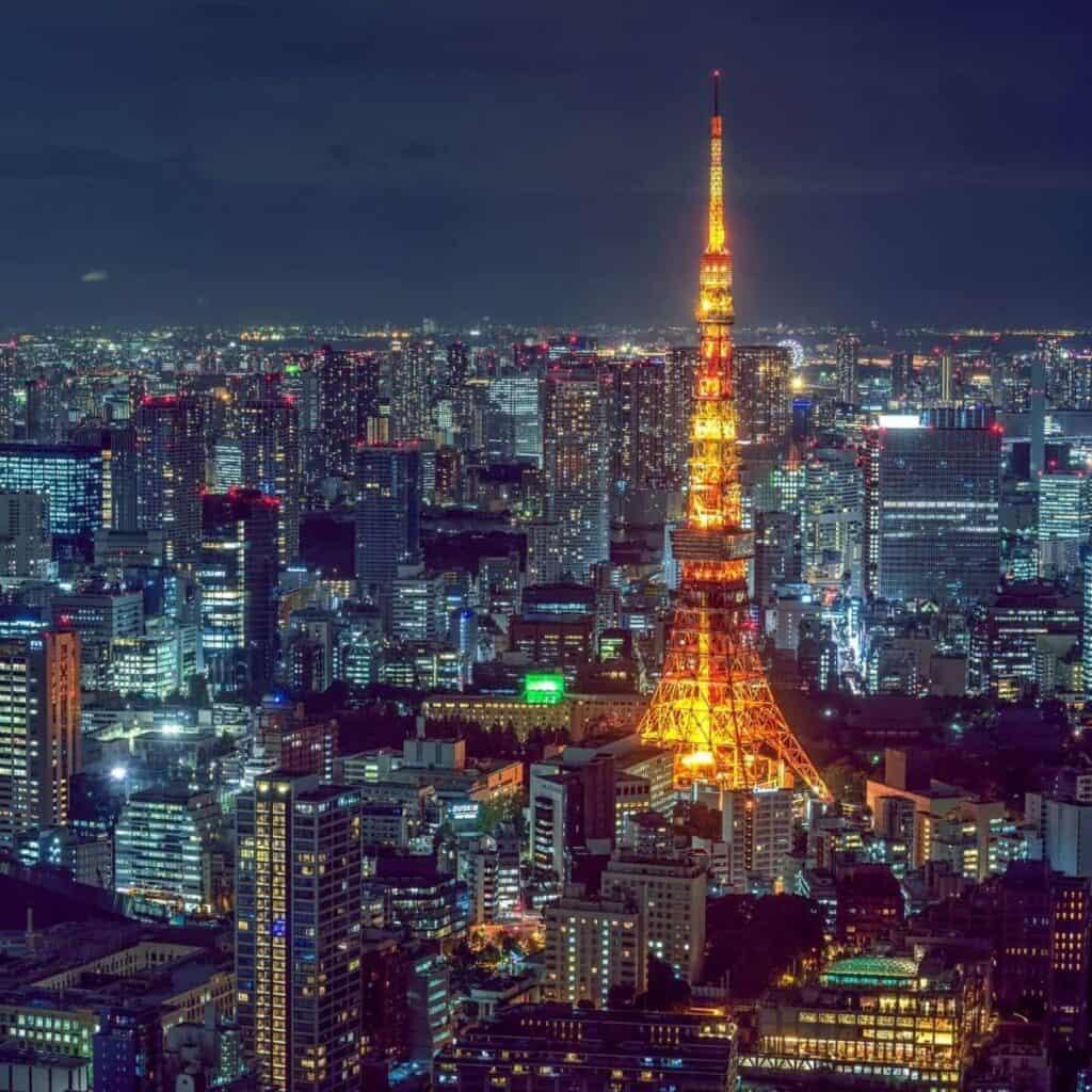 Aerial view of Tokyo buildings at night.
