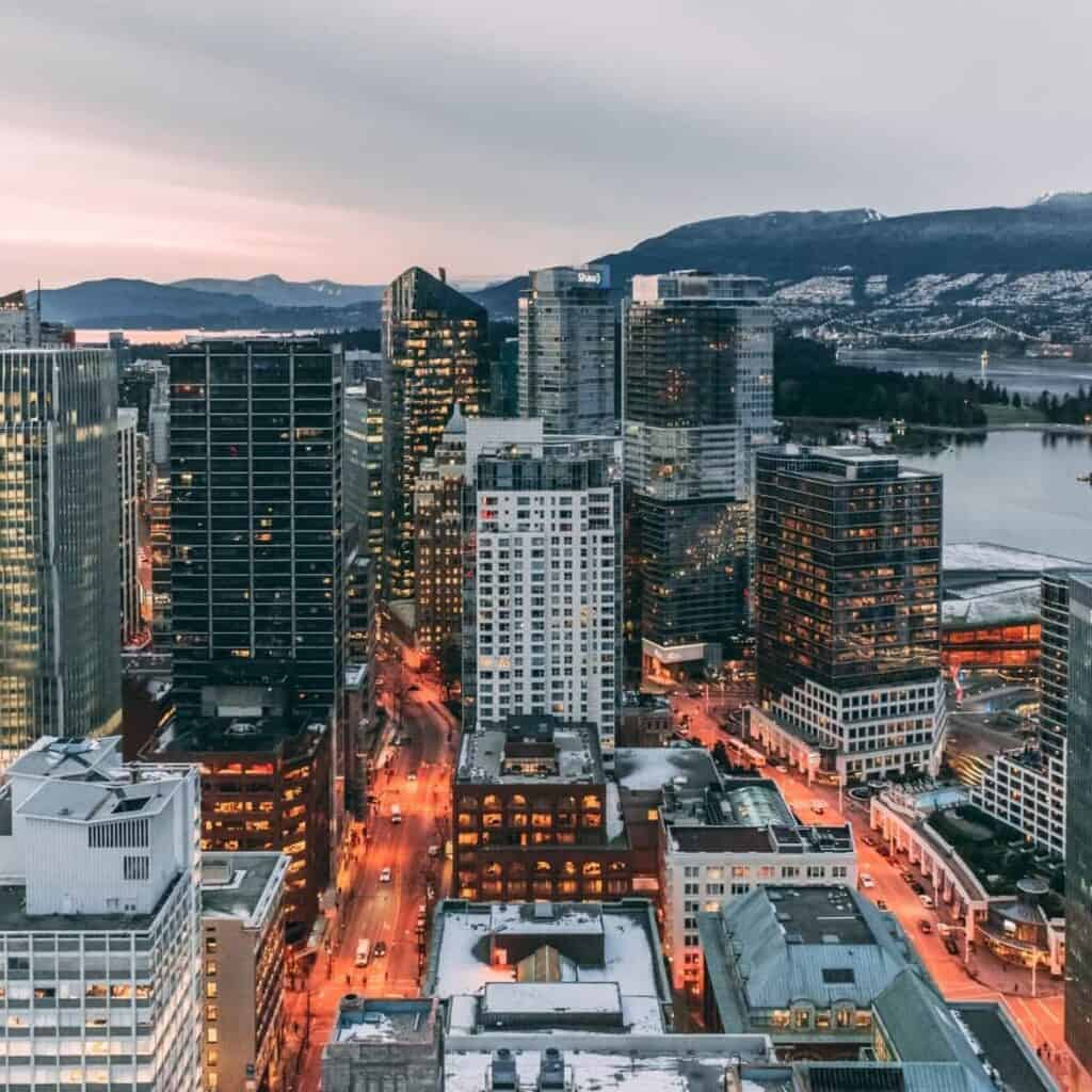 Aerial view of downtown Vancouver BC.