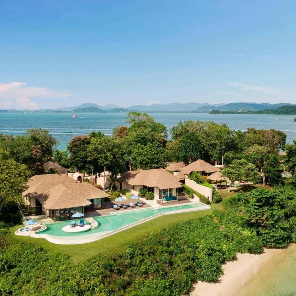 Aerial view of a villa at The Naka Island resort.