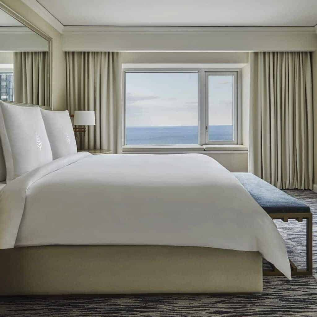 Suite with a view of the water at Four Seasons Chicago.