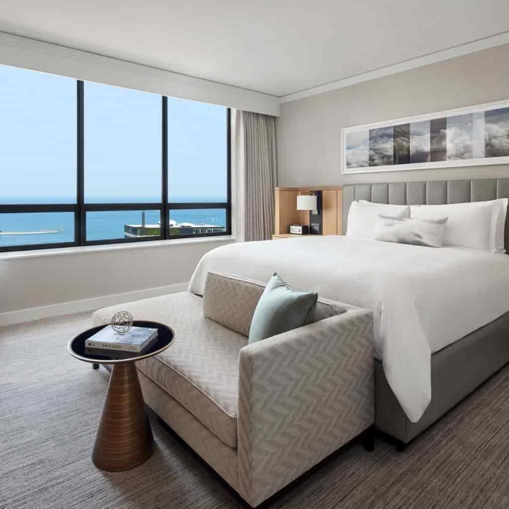 Guestroom with water view at The Ritz-Carlton Chicago.