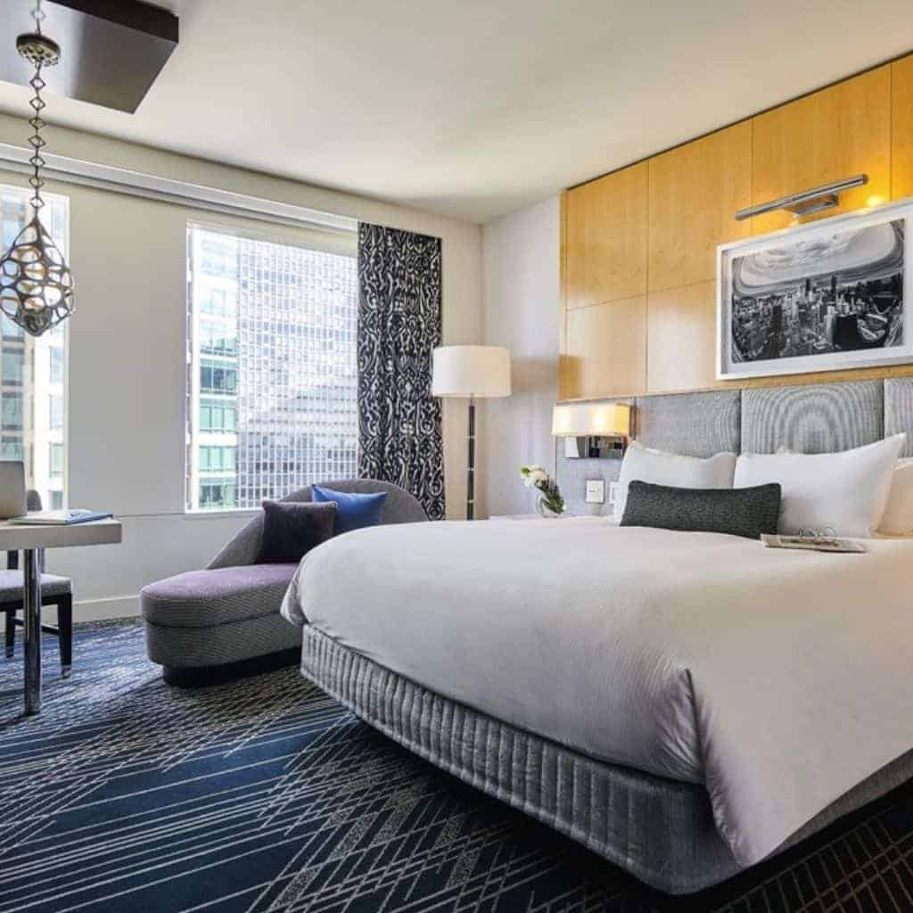Guestroom at Sofitel hotel in Chicago.