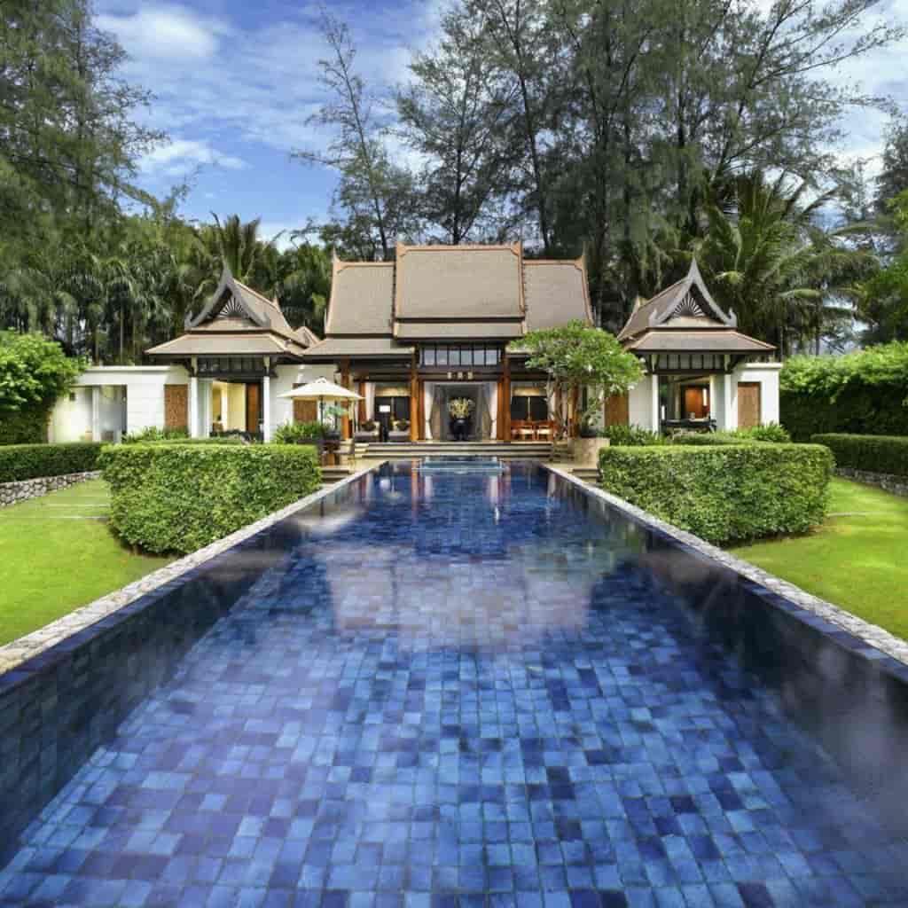 Pool and building at Banyan Tree Phuket resort.