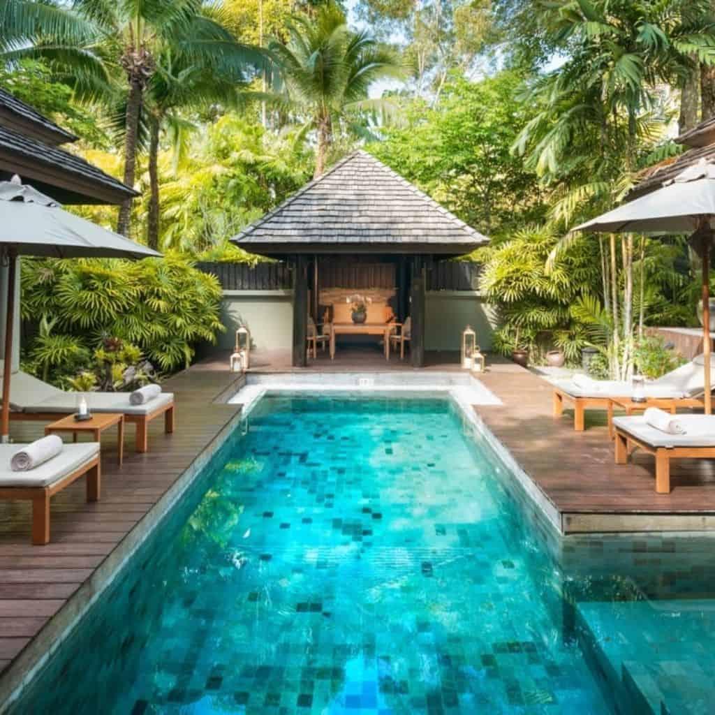 Pool villa and trees at Anantara resort in Phuket.