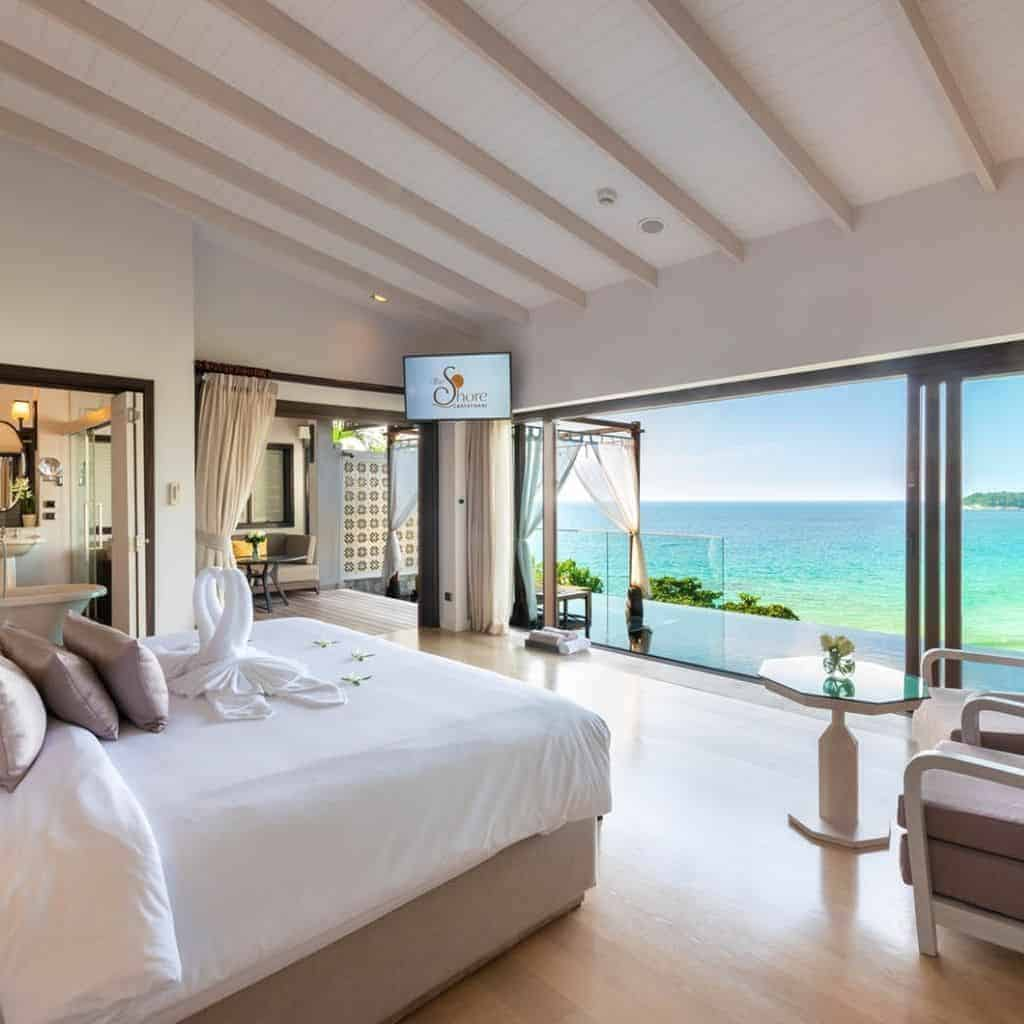 Inside a villa with a view of the sea at The Shore at Katathanhi in Phuket.