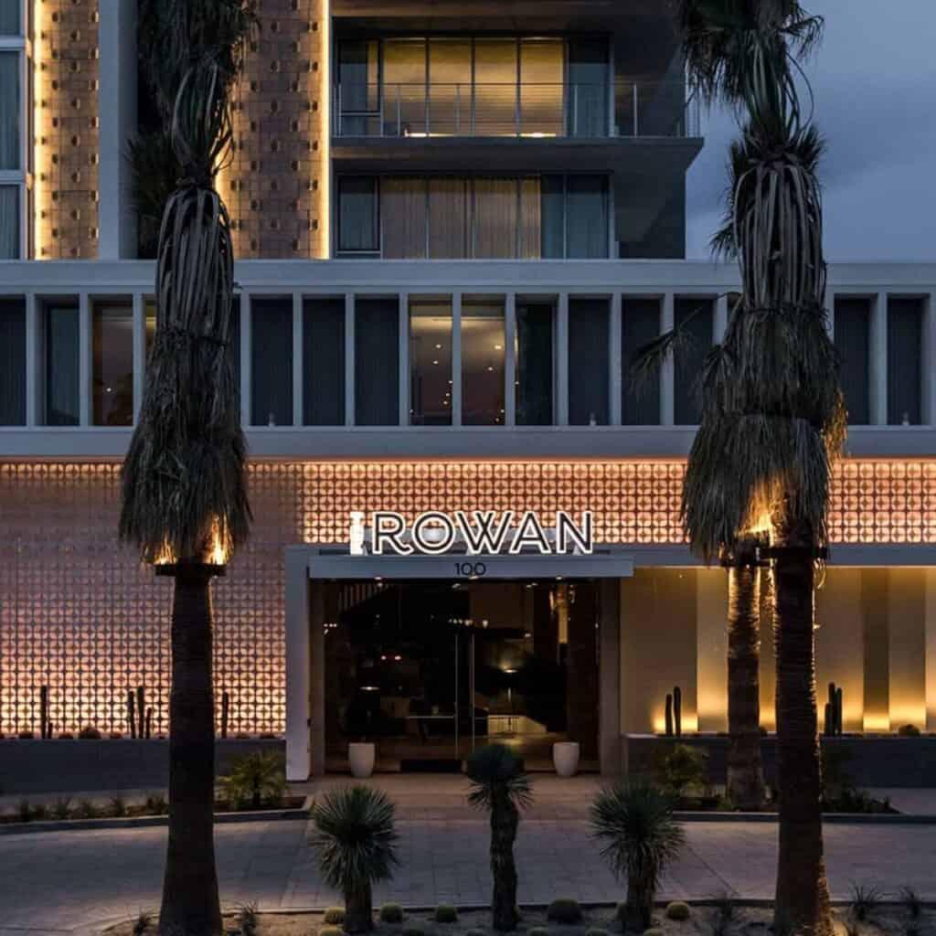 Exterior view of the entrance at Kimpton Rowan Hotel.