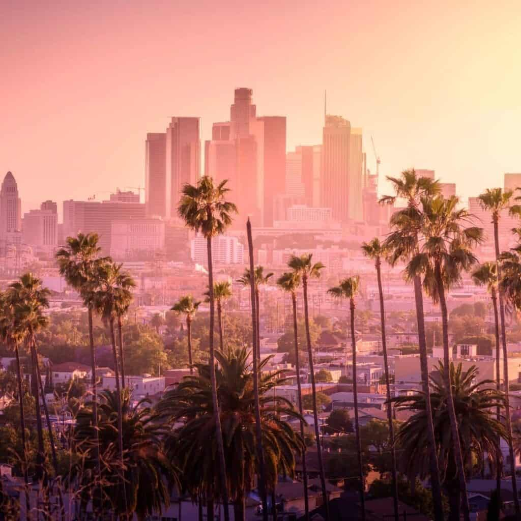Palm trees in front of the Los Angeles skyline.
