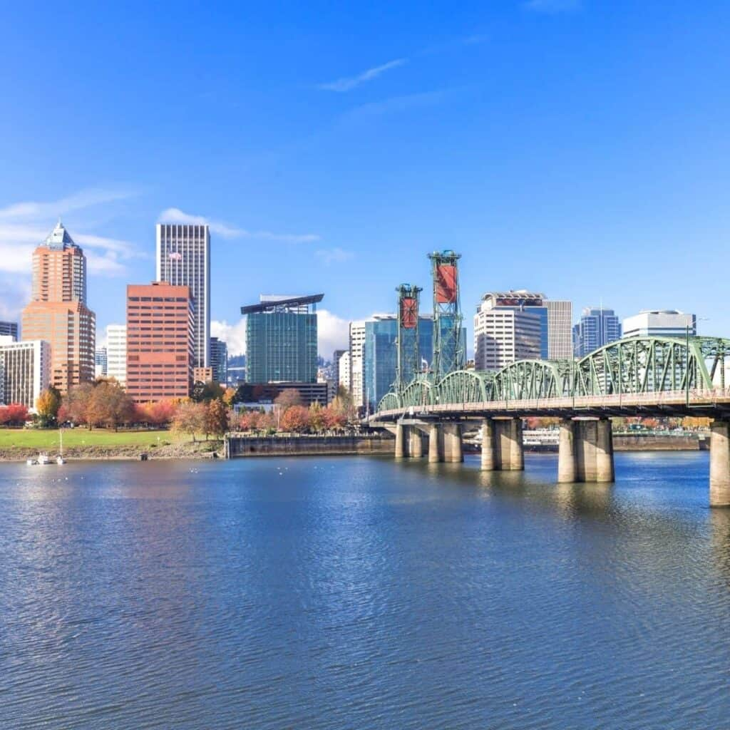 Bridge, river and skyline in Portland, Oregon.