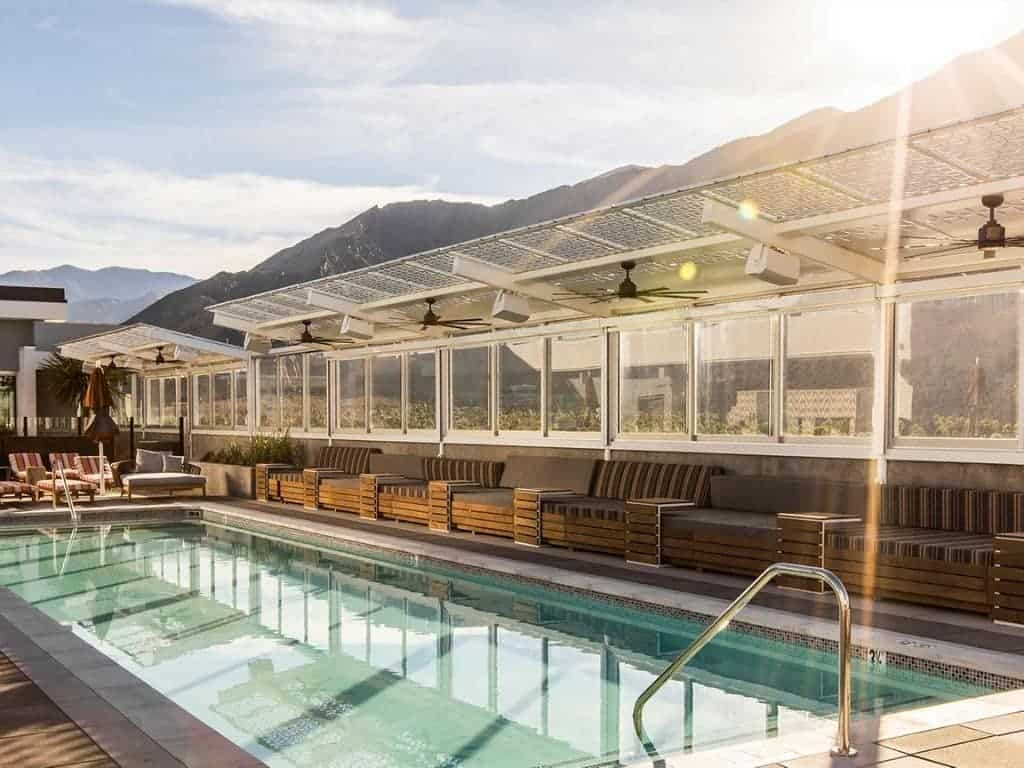 Rooftop pool at The Rowan Palm Springs Hotel.